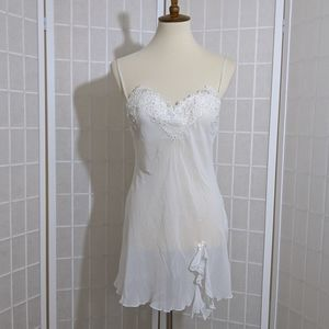 Romantic chemise embroidered lace babydoll  pearls
